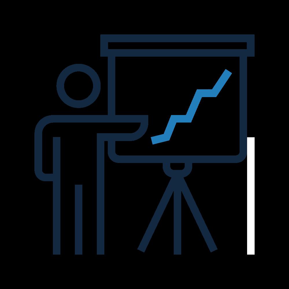 Icone enseignant et paper board avec graphique, coaching